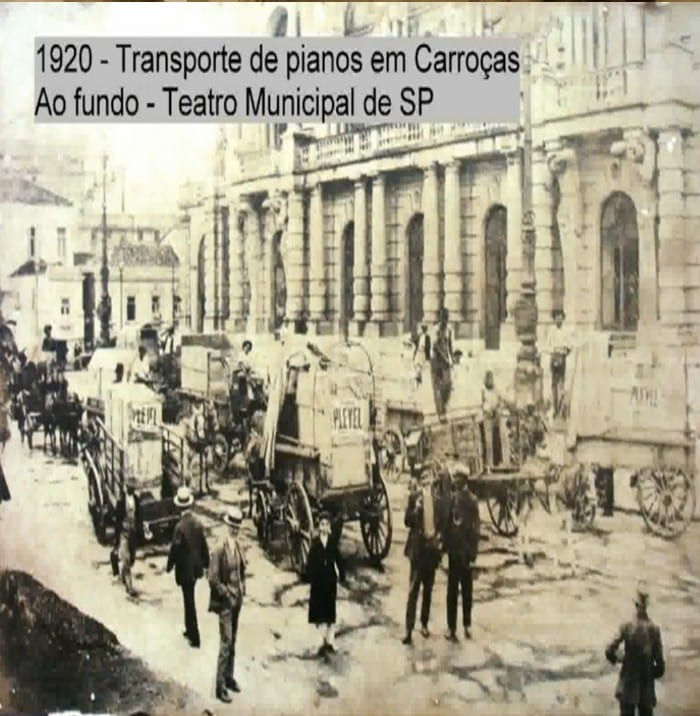 transporte de piano em 1920